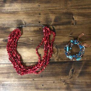 Western Red Stone Necklace & Brown/Blue Bracelet